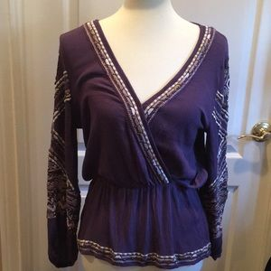 Free People Purple Embroidered Sequin Top
